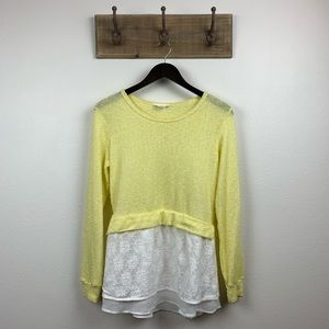 Anthropologie Clu + Willoughby Yellow Lace Top